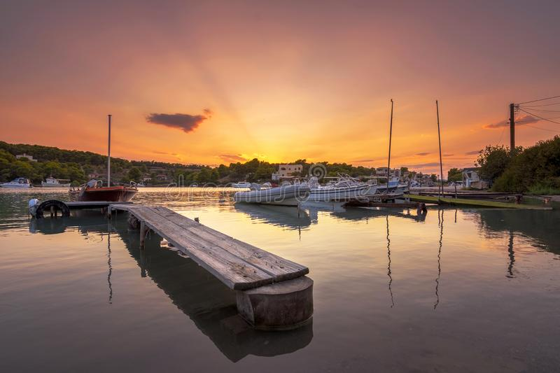 View of the picturesque coastal town of Porto Heli, Peloponnese. View of the picturesque natural harbor at the coastal town of Porto Heli, Peloponnese, Greece royalty free stock photo