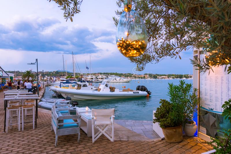 View of the picturesque coastal town of Porto Heli, Peloponnese. View of the picturesque natural harbor at the coastal town of Porto Heli, Peloponnese, Greece royalty free stock images