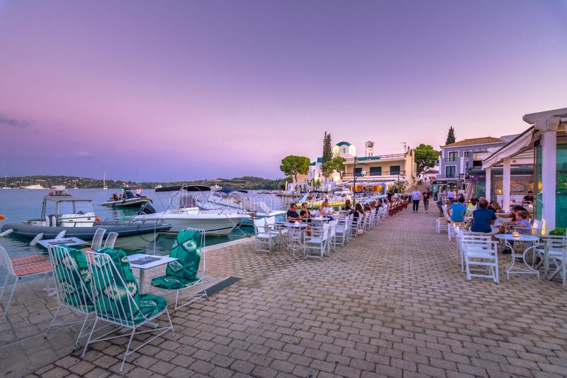 View of the picturesque coastal town of Porto Heli, Peloponnese. View of the picturesque natural harbor at the coastal town of Porto Heli, Peloponnese, Greece stock images