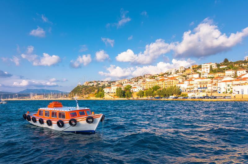 View of the picturesque coastal town of Pylos, Peloponnese. stock photography