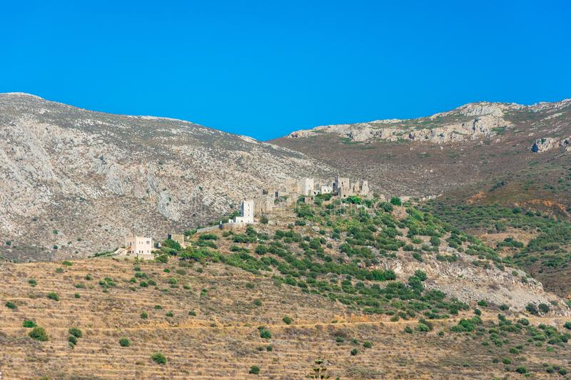 View of the picturesque medieval village of Vatheia with towers, Lakonia, Peloponnese. royalty free stock photography