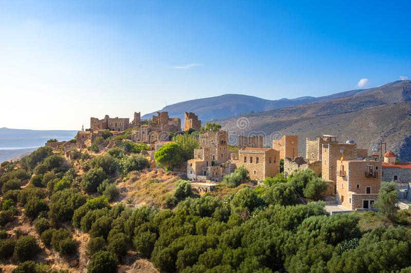 View of the picturesque medieval village of Vatheia with towers, Lakonia, Peloponnese. stock image