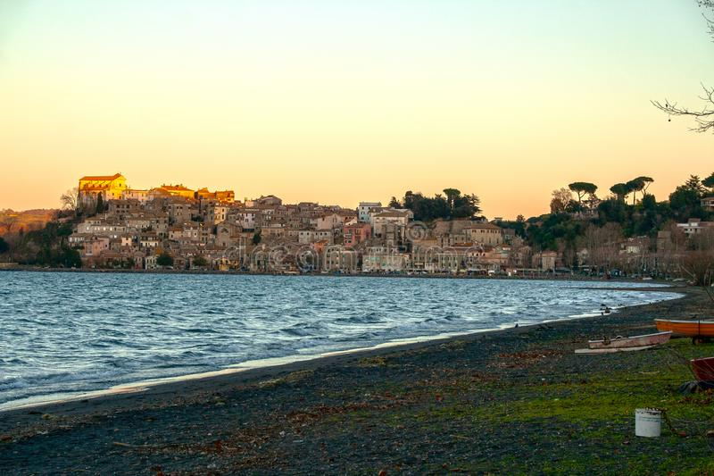 View of the picturesque town of Anguillara Sabazia. On Bracciano lake, Roma, Italy royalty free stock photography