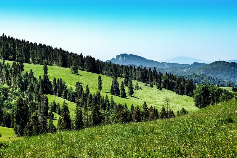 Landscape of Pieniny range in southern Poland. View on Pieniny and Gorce mountain range in beskids in Poland. Pieniny Mountains in the south of Poland. Located royalty free stock images