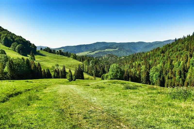 Landscape of Pieniny range in southern Poland. View on Pieniny and Gorce mountain range in beskids in Poland. Pieniny Mountains in the south of Poland. Located royalty free stock photo