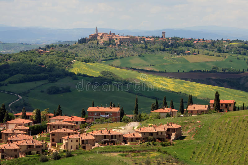 View on the Pienza in Tuscany. View of the city of Pienza in Tuscany Italy from one of hills stock photos