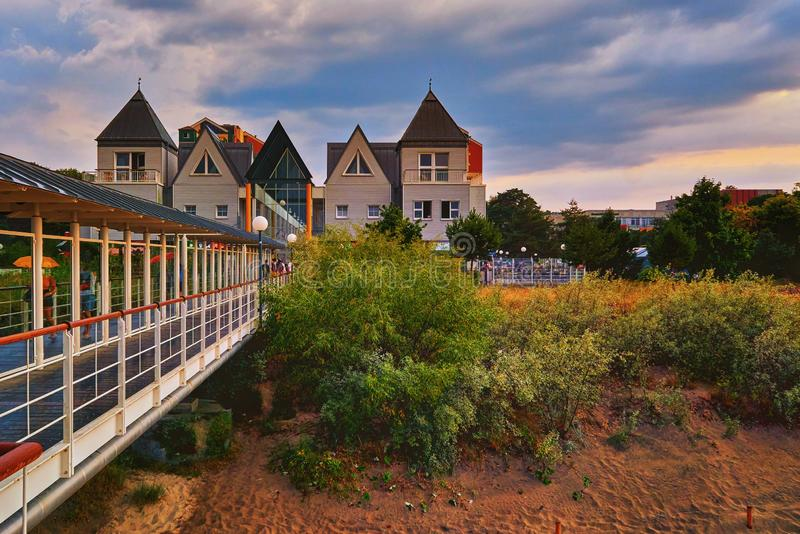View from the pier in Heringsdorf on the city. Baltic Sea island Usedom. germany stock photos
