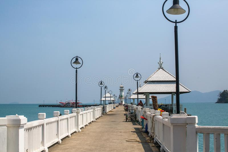 View of pier near Bang Bao fishing village, which consists of houses on stilts built into the sea. stock image