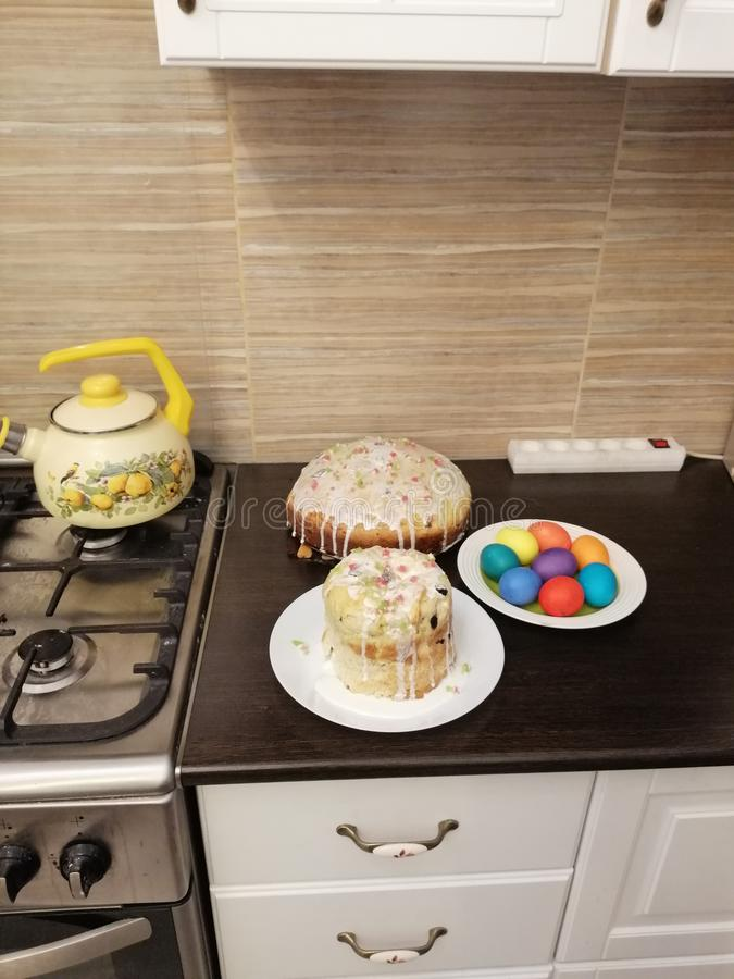 View of pies and Easter eggs royalty free stock photo