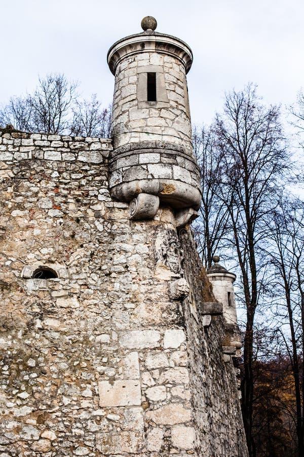 View of Pieskowa Skala Castle and garden, medieval building near Krakow, Poland.  royalty free stock photo