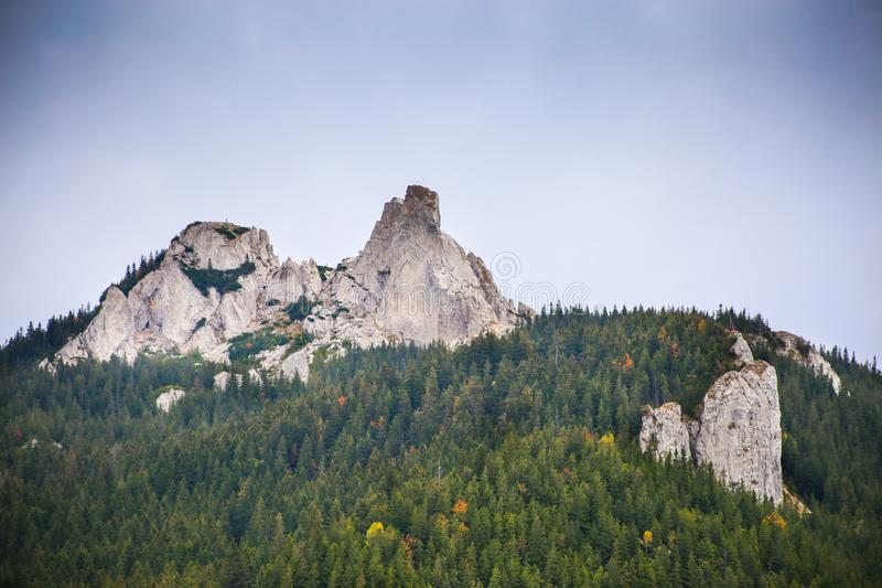 View of Pietrele Doamnei Peak Lady`s Stones cliff from below royalty free stock images