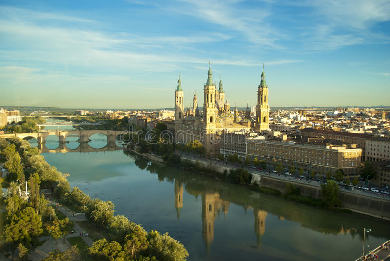 View of Pilar's cathedral and Ebro river in Zaragoza, Spain. The Basilica Cathedral of Our Lady of the Pillar is a Roman Catholic church in the city of Zaragoza royalty free stock photos