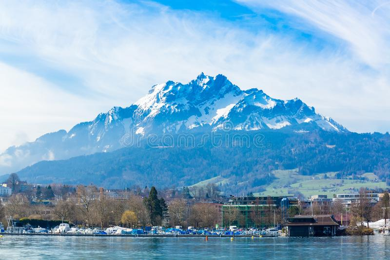 View of Pilatus Mountain from Lake Lucerne, Switzerland royalty free stock image