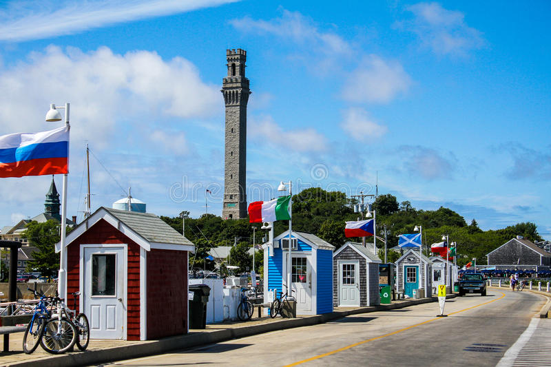 View of Pilgrim Monument from MacMillan Pier in Provincetown, MA. royalty free stock image