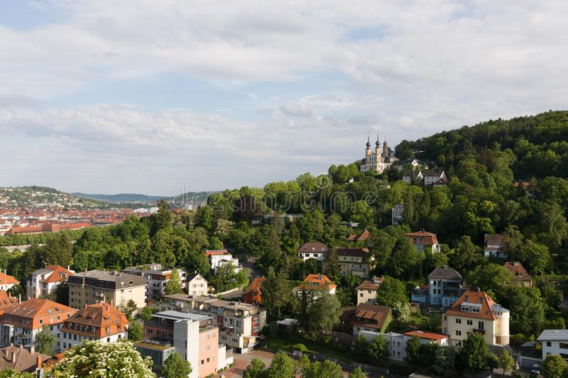 Pilgrimage church Kaeppele with part of Wuerzburg Germany. View of the pilgrimage church Kaeppele from fortress with part of Wuerzburg Germany stock photography
