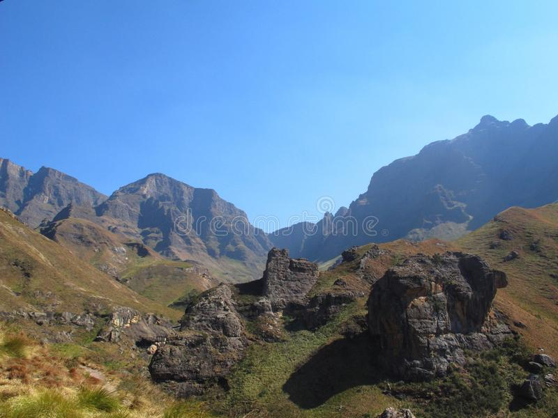 View from Pillar Cave, uKhahlamba Drakensberg National Park. View from Pillar Cave on hiking path to Rhino Peak at Garden Castle Reserve of uKhahlamba stock photography