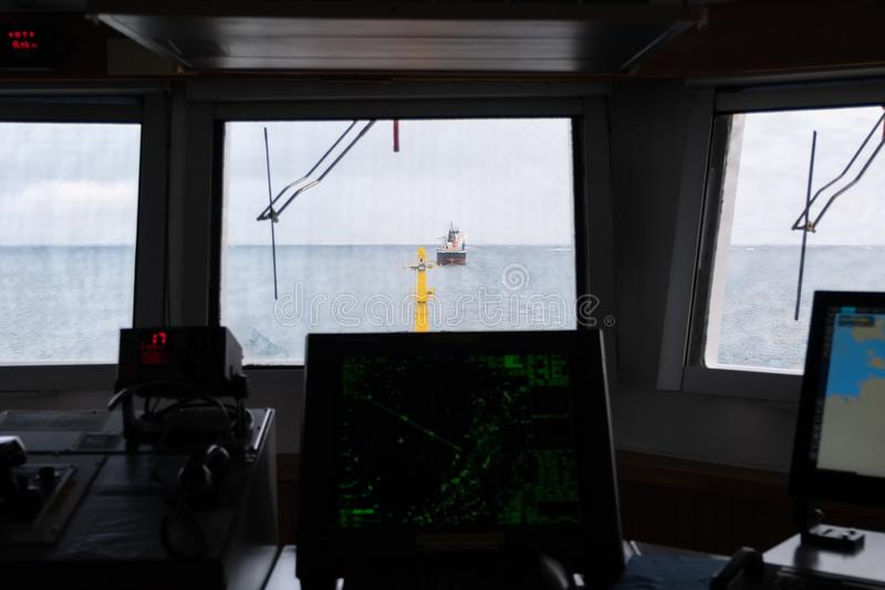 View from pilot house on the vessel which is ahead stock photo