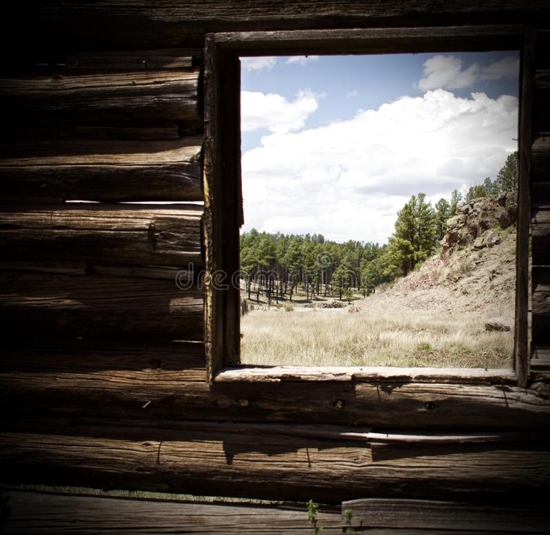 A view of the pine forest and mountains as seen from a rustic log cabin royalty free stock photo
