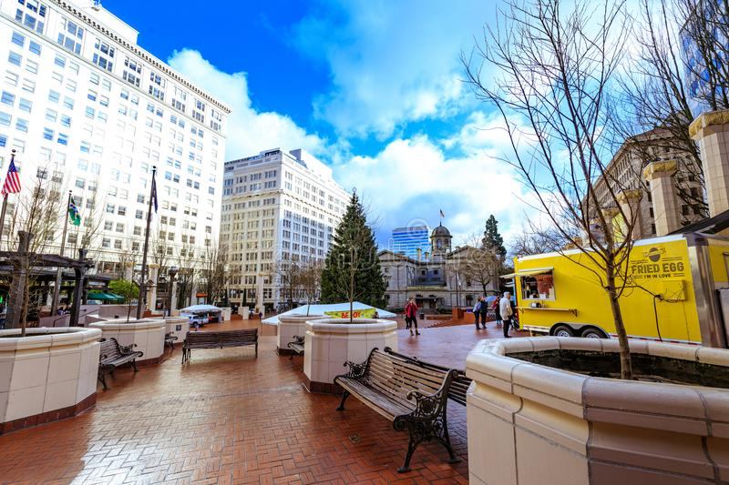 View of Pioneer Courthouse Square in downtown Portland royalty free stock photos