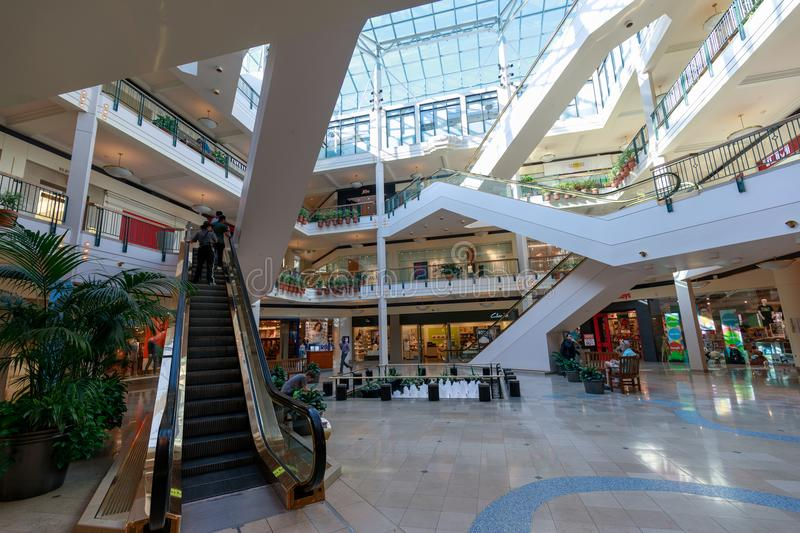 The view of Pioneer Place, shopping mall, in downtown Portland stock photo