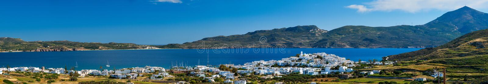 View of Plaka village with traditional Greek church. Milos island, Greece royalty free stock image