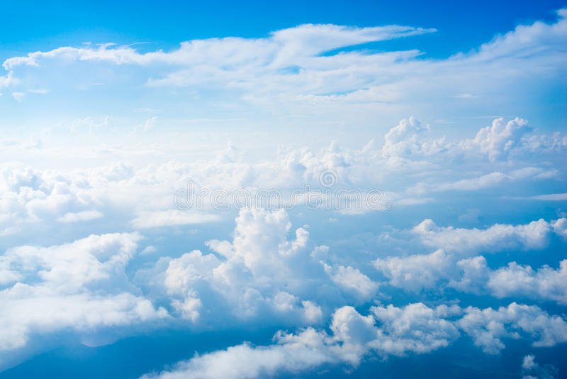 The View from the plane above the cloud and sky stock photos