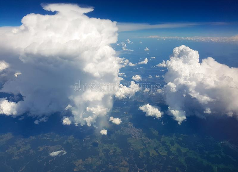 View from the plane in flight stock images
