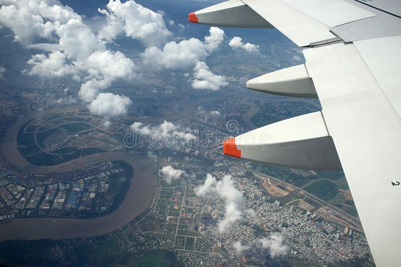 View from Plane at River Song Sai Gon royalty free stock photography