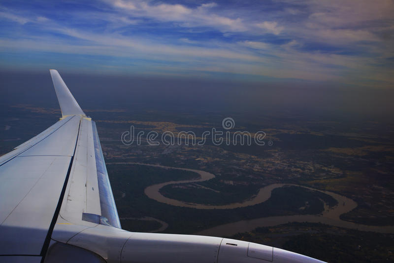 View from plane window above Ubonratchathani Thailand ,moon river. Top view from plane window above Ubonratchathani Thailand ,moon river stock photo