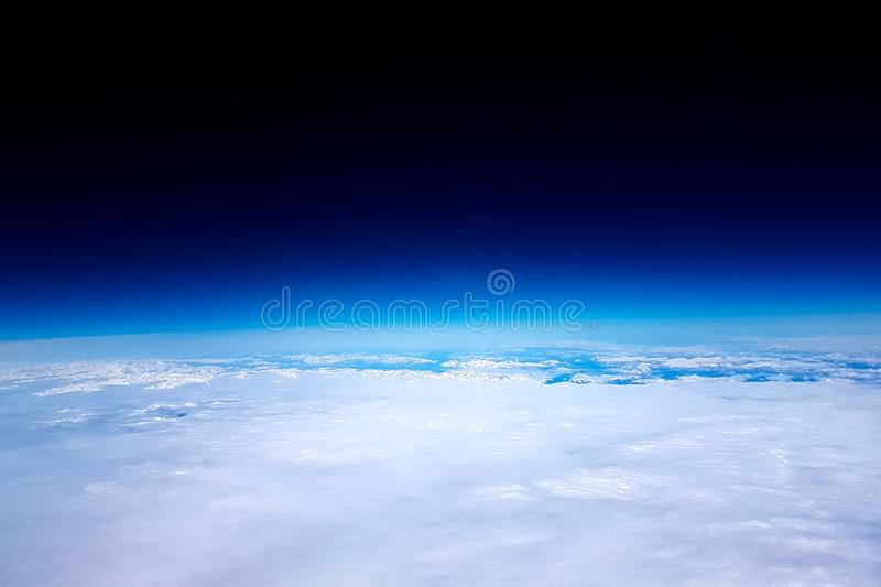 View of the planet Earth during a flight into space and entering a low orbit.  stock images