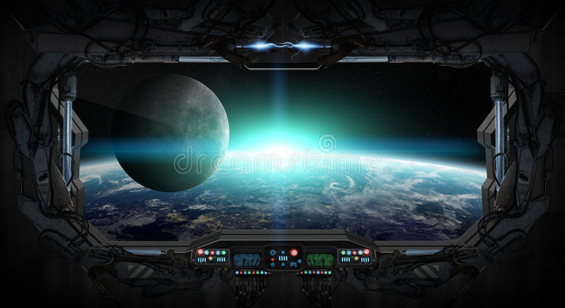View Of Planet Earth From Inside A Space Station Stock ...