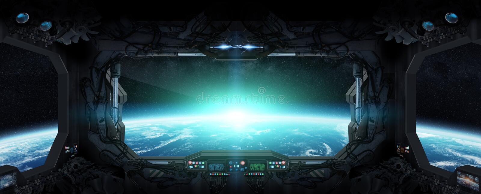 View of planet Earth from inside a space station. Window view of planet earth from a space station stock illustration