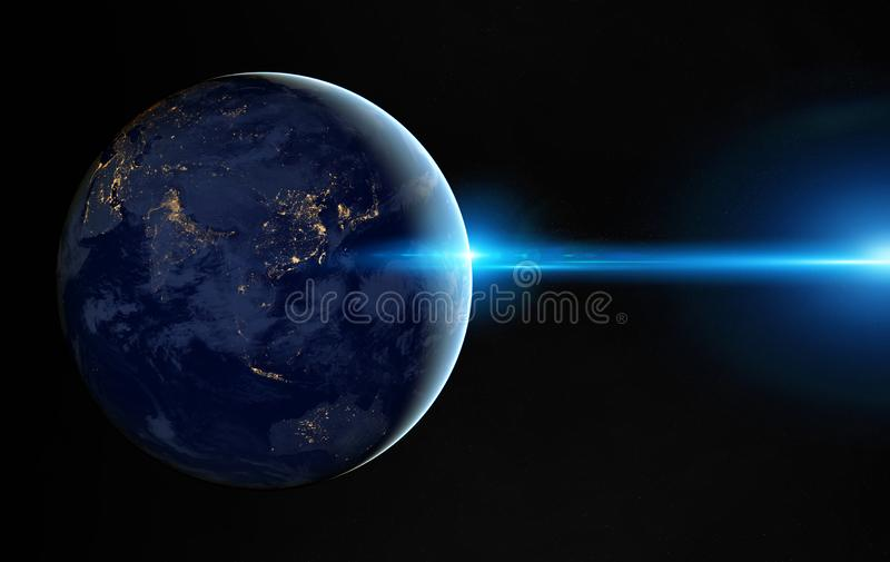View of planet Earth at night with cities lights on Asia 3D rendering elements of this image furnished by NASA stock illustration