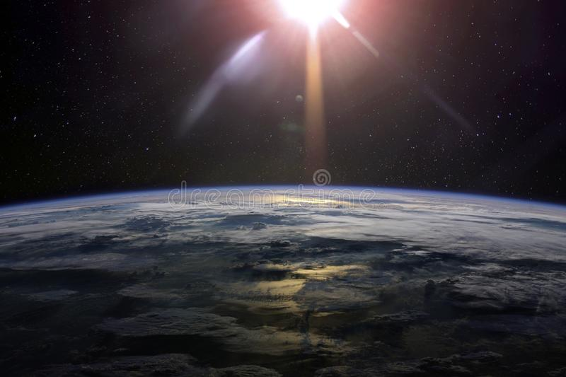 View of the planet Earth from space with clouds royalty free stock photos