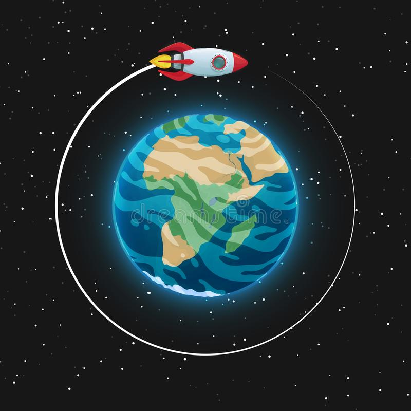 View of the planet Earth from space. Glowing blue sphere with oceans, continents and clouds in the atmosphere. Spaceship in the. Orbit. Dark cosmos and stars in vector illustration