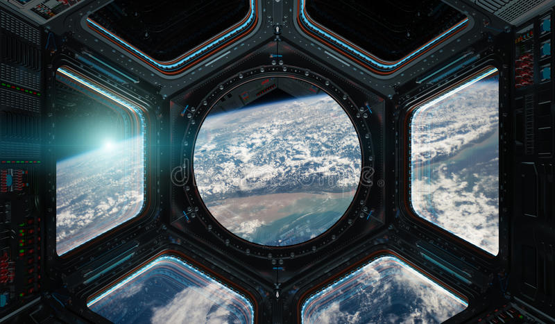 View of planet Earth from a space station window 3D rendering elements of this image furnished by NASA. Window view of planet earth from a space station in space stock illustration
