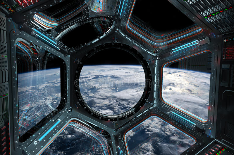 View of planet Earth from a space station window 3D rendering elements of this image furnished by NASA. Window view of planet earth from a space station in space royalty free illustration