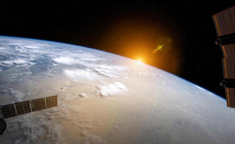 View of planet Earth from a space station window during a sunrise 3D rendering elements of this image furnished by NASA. View of blue planet Earth from a space vector illustration