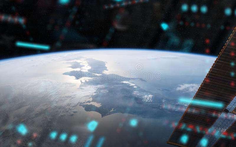 View of planet Earth from a space station window during a sunrise 3D rendering elements of this image furnished by NASA. View of blue planet Earth from a space stock illustration