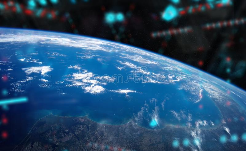 View of planet Earth from a space station window during a sunrise 3D rendering elements of this image furnished by NASA. View of blue planet Earth from a space royalty free illustration