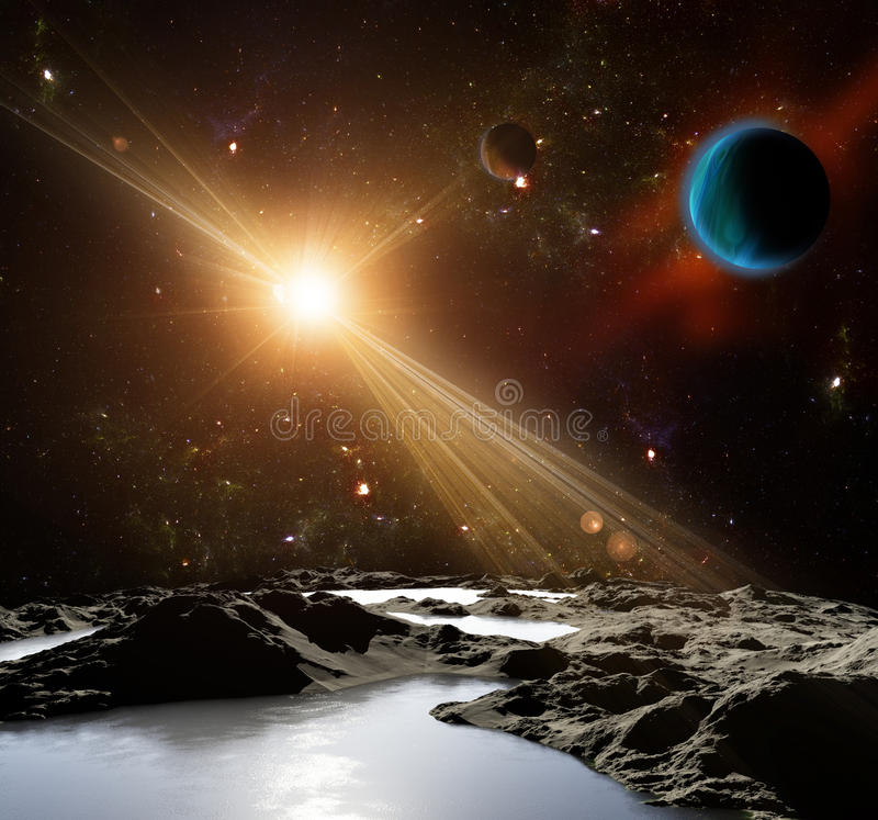 A view of planet earth and the universe from the moon's surface. A view of planet and the universe from the moon's surface. Abstract illustration of distant vector illustration