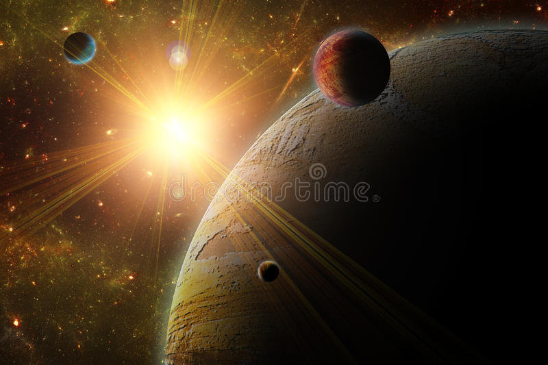 A view of planet, moons and the deep space. royalty free illustration