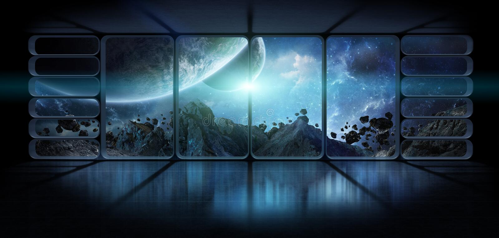 View planets from a huge spaceship window 3D rendering elements vector illustration