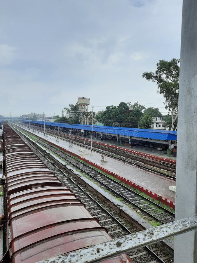 View of Platform No. 1 of Railway station, Dimapur, Nagaland, India. View of Platform No. 1 and tracks  of Railway station, Dimapur, Nagaland, India. This is royalty free stock image