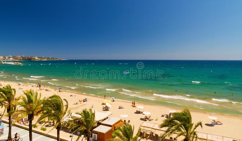 View of Platja Llarga beach in Salou Spain vector illustration