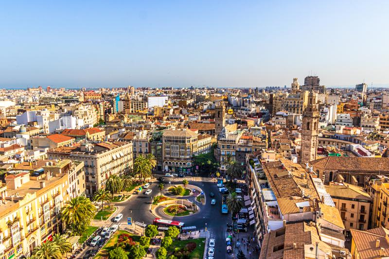 View of the Plaza de la Reina, Valencia, Spain stock photo