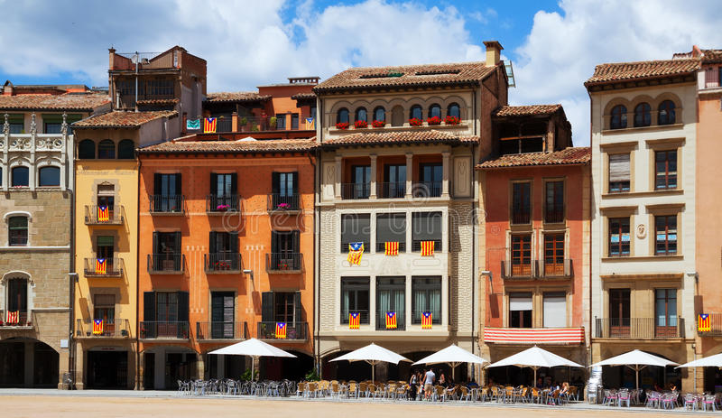 View of Plaza Mayor in Vic. Spain. VIC, SPAIN - JUNE 1, 2014: View of Plaza Mayor in Vic. Vic is capital of comarca of Osona royalty free stock photos