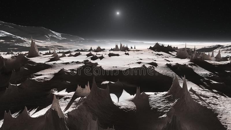 View of Pluto's mountains and icy plains royalty free stock images