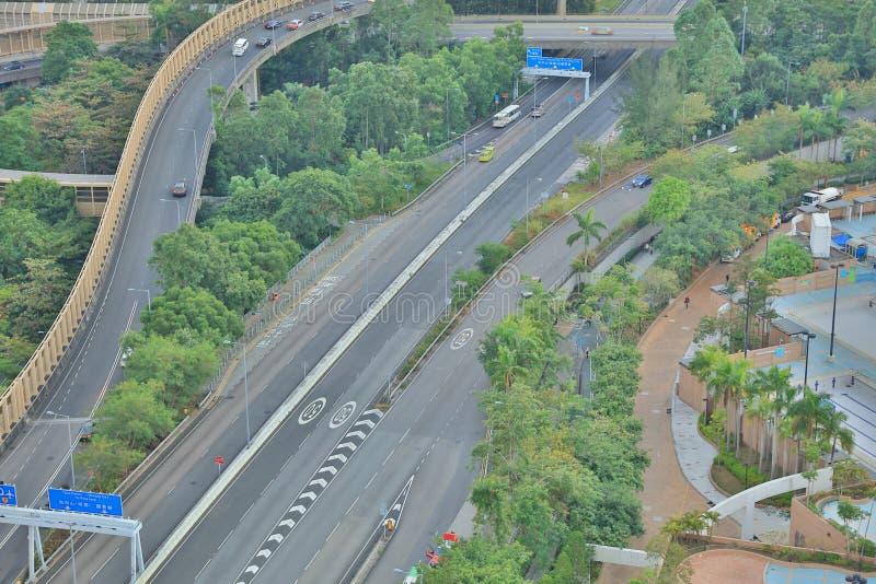 The night of Po Shun Road at TKO. View of Po Shun Road at Tseung Kwan O royalty free stock image