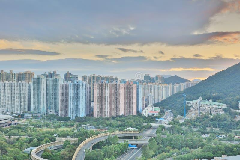 The sunset of Po Shun Road at TKO. View of Po Shun Road at Tseung Kwan O royalty free stock image
